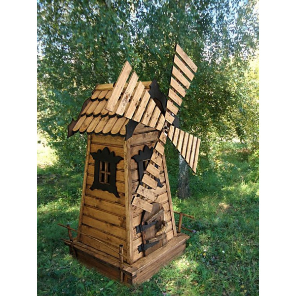 Деревянная декоративная мельница модель №1