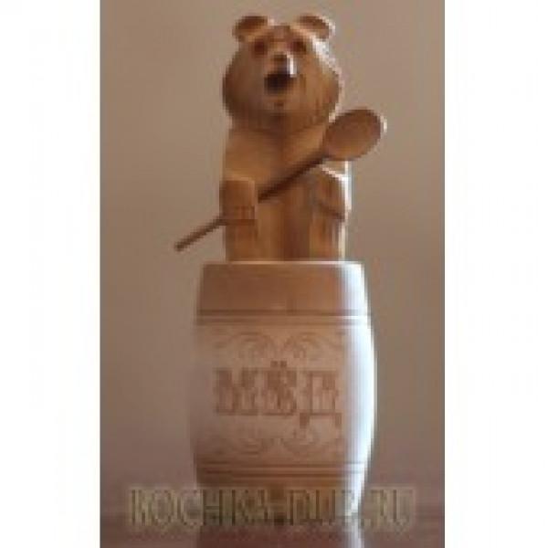 Бочонок для меда с резным медведем 0,15л