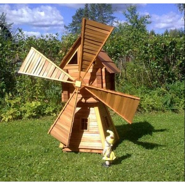 Деревянная декоративная мельница модель №2